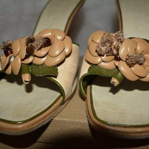 Channel Camellia Accent Flower Heels Size 38.5